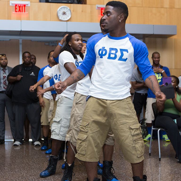 Phi Beta Sigma at a step show in the campus center.