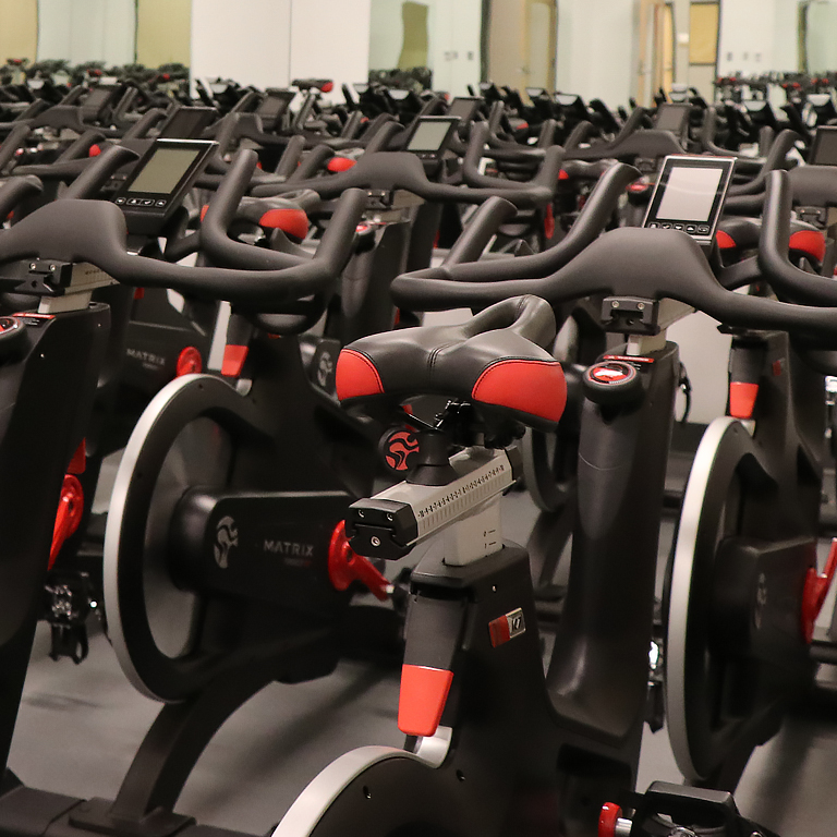 A room full of indoor bicycles.