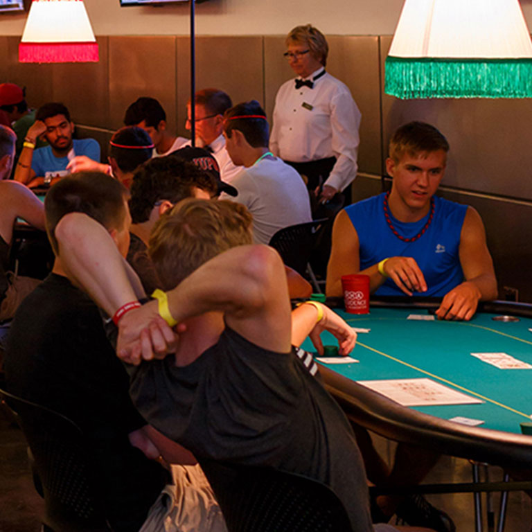 Students playing card games at a recent SAPB late night event.