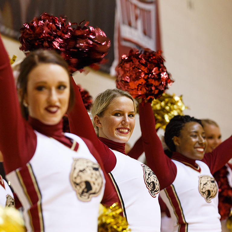 IUPUI cheerleaders at a home basketball game.