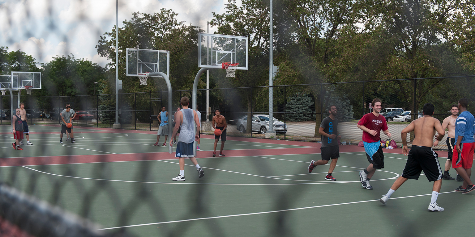 Students play basketball at the CROF.