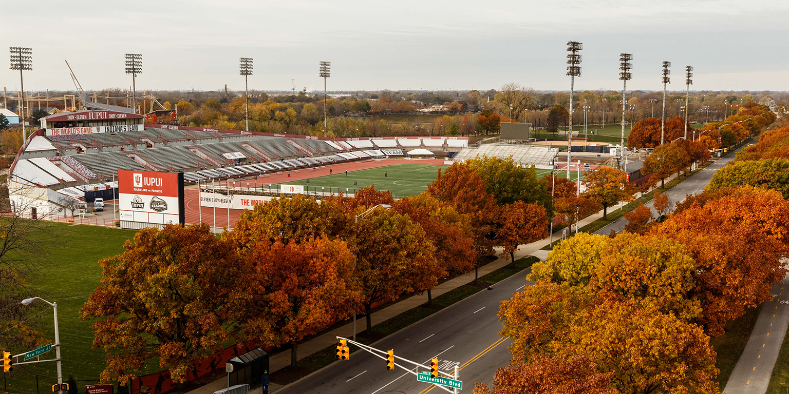 Carroll Stadium from the view of University Hall.