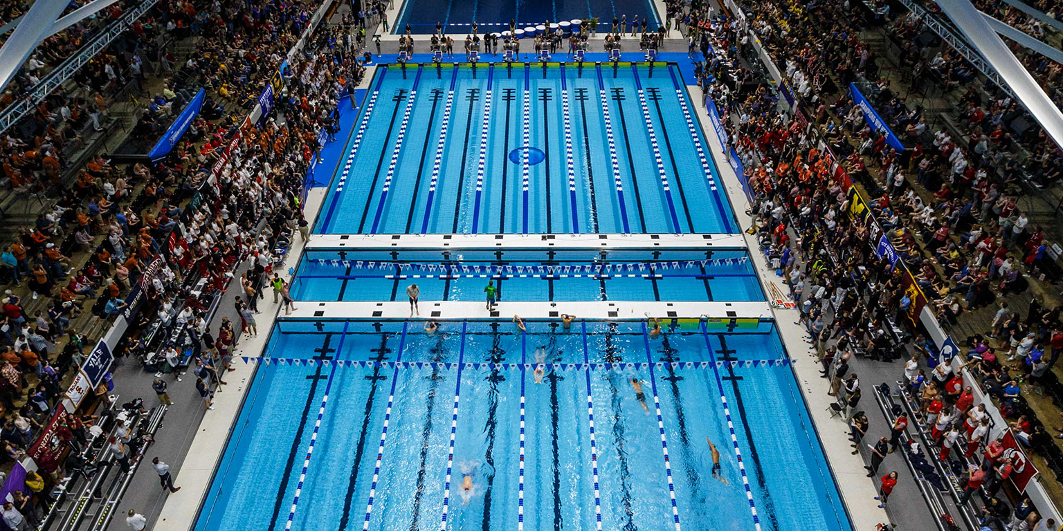 A view from high above the pool in the Natatorium.